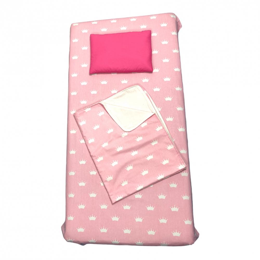 Set 3 piese paturica cu cearsaf si pernuta 120x60 cm Coronite roz