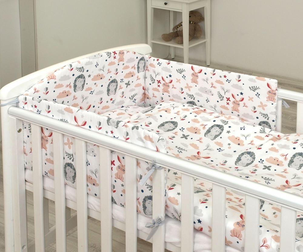 Set lenjerie din bumbac 3 piese cu protectie laterala pentru pat bebelusi 120 x 60 cm Iepuras Roz