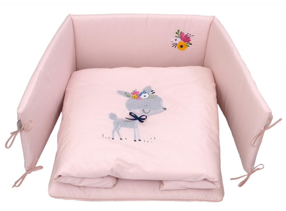 Set Lenjerie Din Bumbac Cu Protectie Laterala Pentru Pat Bebelusi Deery Pink 120 X 60 Cm