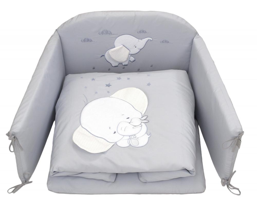 Set lenjerie din bumbac cu protectie laterala pentru pat bebelusi Elephant Grey 120 x 60 cm