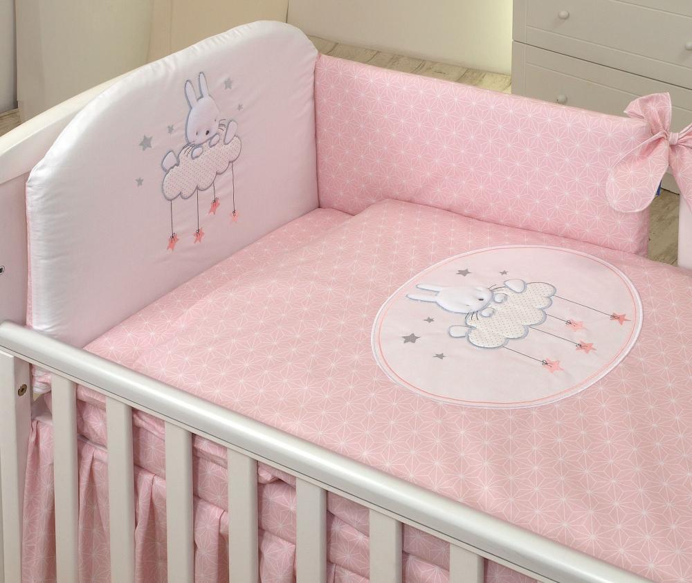 Set lenjerie din bumbac cu protectie laterala pentru pat bebelusi Sky Bunny Pink 120 x 60 cm