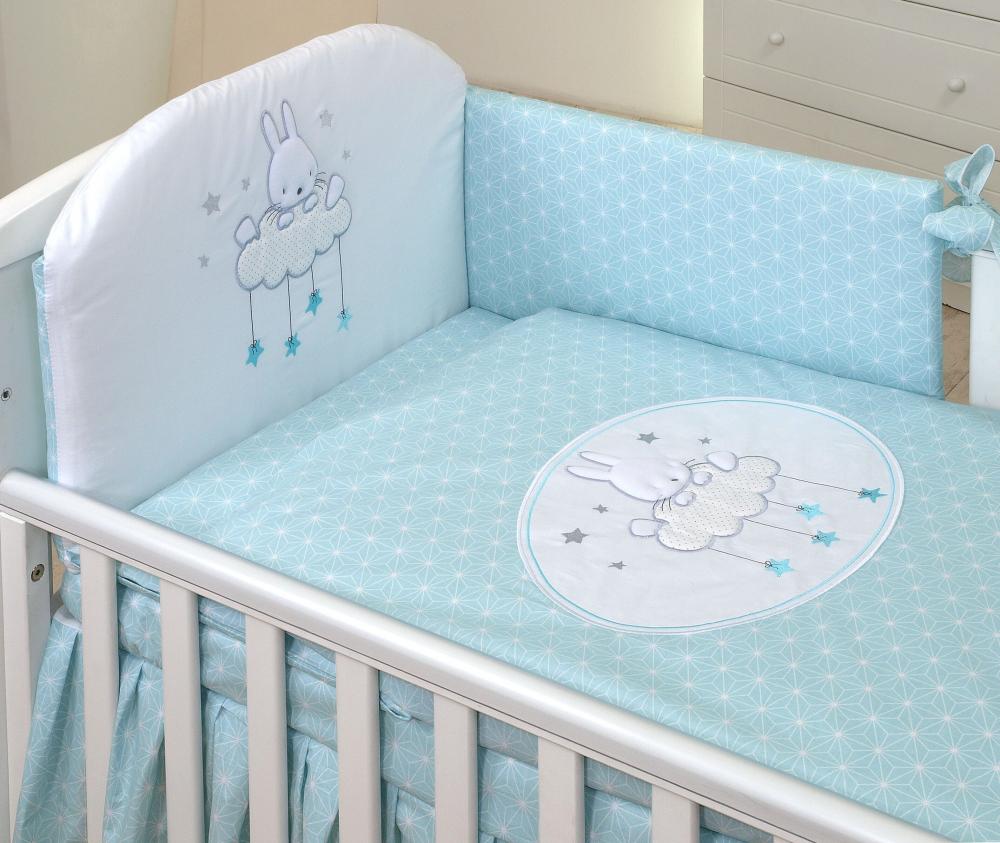 Set lenjerie din bumbac cu protectie laterala pentru pat bebelusi Sky Bunny Turquoise 120 x 60 cm