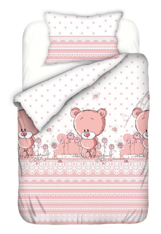 Set lenjerie patut cu 5 piese 120x60 cm Pinky Bear