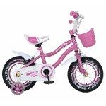 Bicicleta fete 2-4 ani 12 inch roti ajutatoare cu Led Rich Baby CSR12/04A roz cu alb
