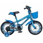 Bicicleta copii 2-4 ani 12 inch roti ajutatoare cu Led Rich Baby CSR12/03A albastru cu negru