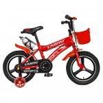 Bicicleta copii 3-5 ani 14 inch din magneziu roti ajutatoare cu Led Carpat Kids CSC14/00A rosu alb