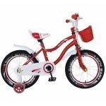 Bicicleta copii 4-6 ani 16 inch C-Brake roti ajutatoare cu Led,Rich Baby CSR16/04A rosu cu alb