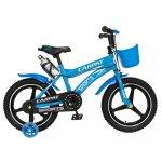 Bicicleta copii 4-6 ani 16 inch din magneziu roti ajutatoare cu Led Carpat Kids CSC16/00A albastru alb