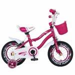 Bicicleta copii 4-6 ani 16 inch roti ajutatoare cu Led Rich Baby CSR16/04A fucsia alb