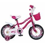 Bicicleta fete 2-4 ani 12 inch roti ajutatoare cu Led Rich Baby CSR12/04A fucsia cu alb