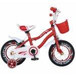 Bicicleta fete 2-4 ani 12 inch roti ajutatoare cu Led Rich Baby CSR12/04A rosu cu alb