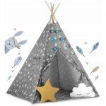Cort de joaca pentru copii cu lumini Ricokids 120 x 120 x 165 cm Gri cu stelute