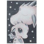 Covor copii & tineret Hopkinsville roz/gri/alb 140x200