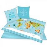Lenjerie de pat Harta Lumii pentru copii din bumbac reversibila 2 piese