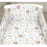 Set lenjerie din bumbac 3 piese cu protectie laterala pentru pat bebelusi 120 x 60 cm Iepuras Blue