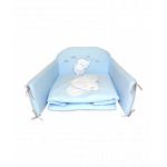 Set lenjerie din bumbac cu protectie laterala pentru pat bebelusi Elephant Blue 120 x 60 cm