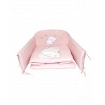 Set lenjerie din bumbac cu protectie laterala pentru pat bebelusi Elephant Pink 120 x 60 cm