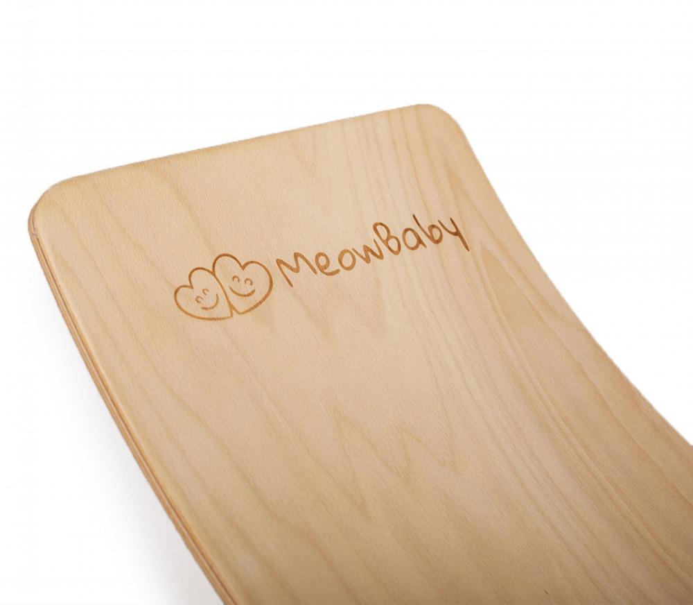 Balance board Placa de echilibru din lemn pentru copii cu protectie verde MeowBaby