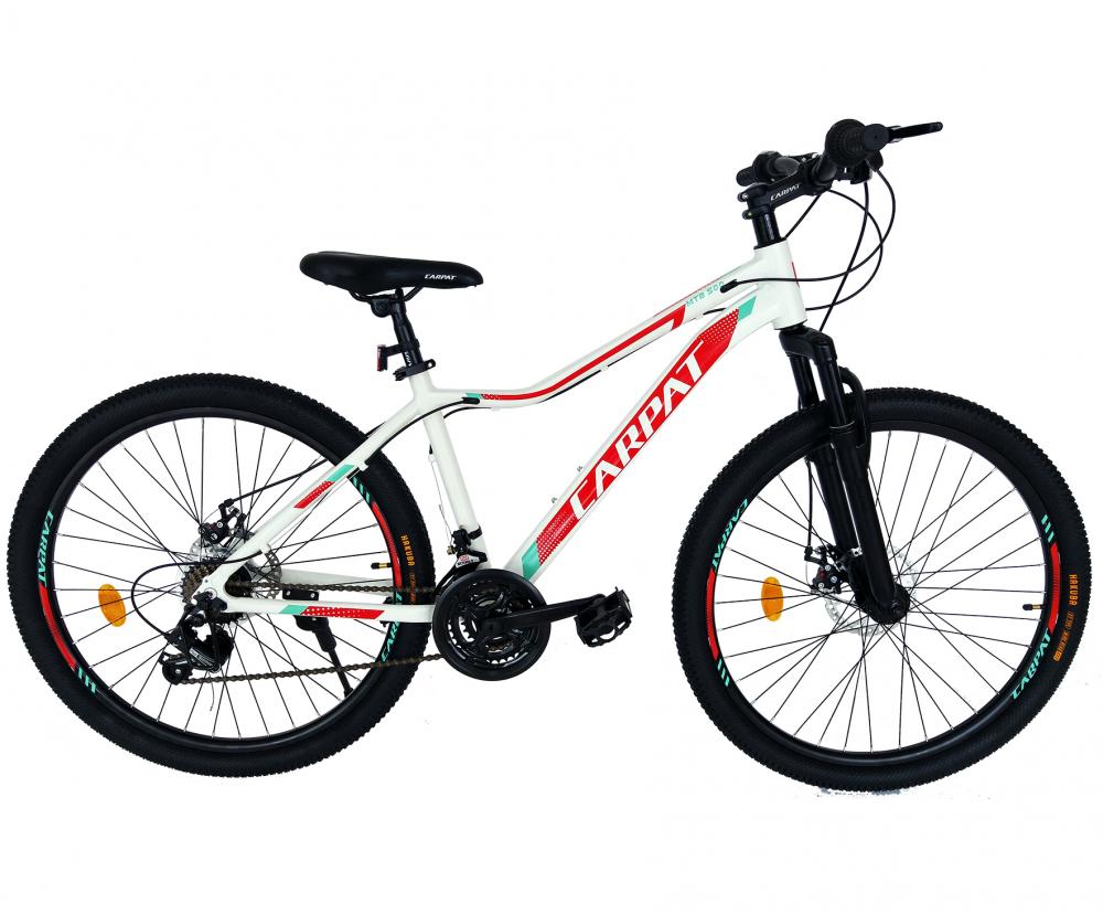 Bicicleta MTB-HT schimbator Shimano 21 viteze 26 inch Cadru Aluminiu Carpat CSC2652A alb cu rosu