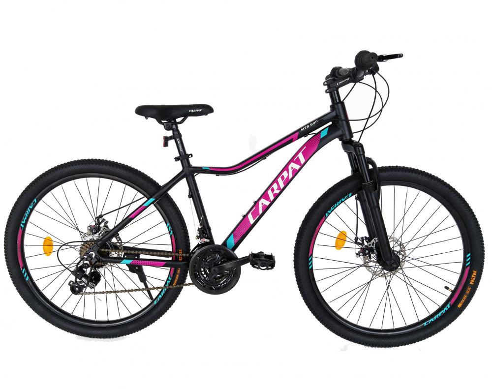 Bicicleta MTB-HT schimbator Shimano 21 viteze 26 inch Cadru Aluminiu Carpat CSC2652A negru cu mov