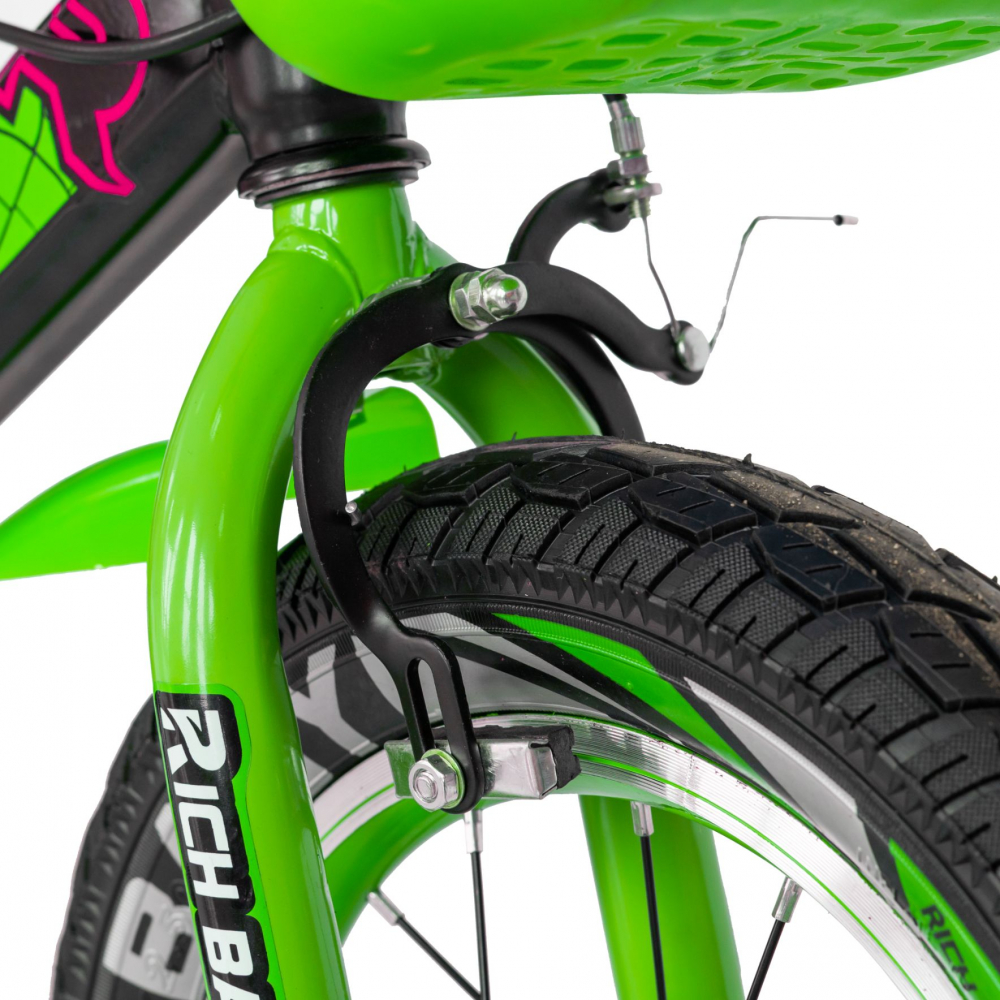 Bicicleta baieti 3-5 ani 14 inch Frane C-Brake Rich Baby CSR14WTB negru cu verde