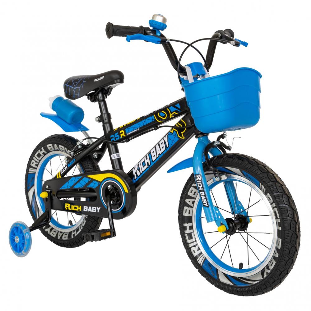 Bicicleta baieti 3-5 ani 14 inch Rich Baby CSR14WTB Albastru - 1