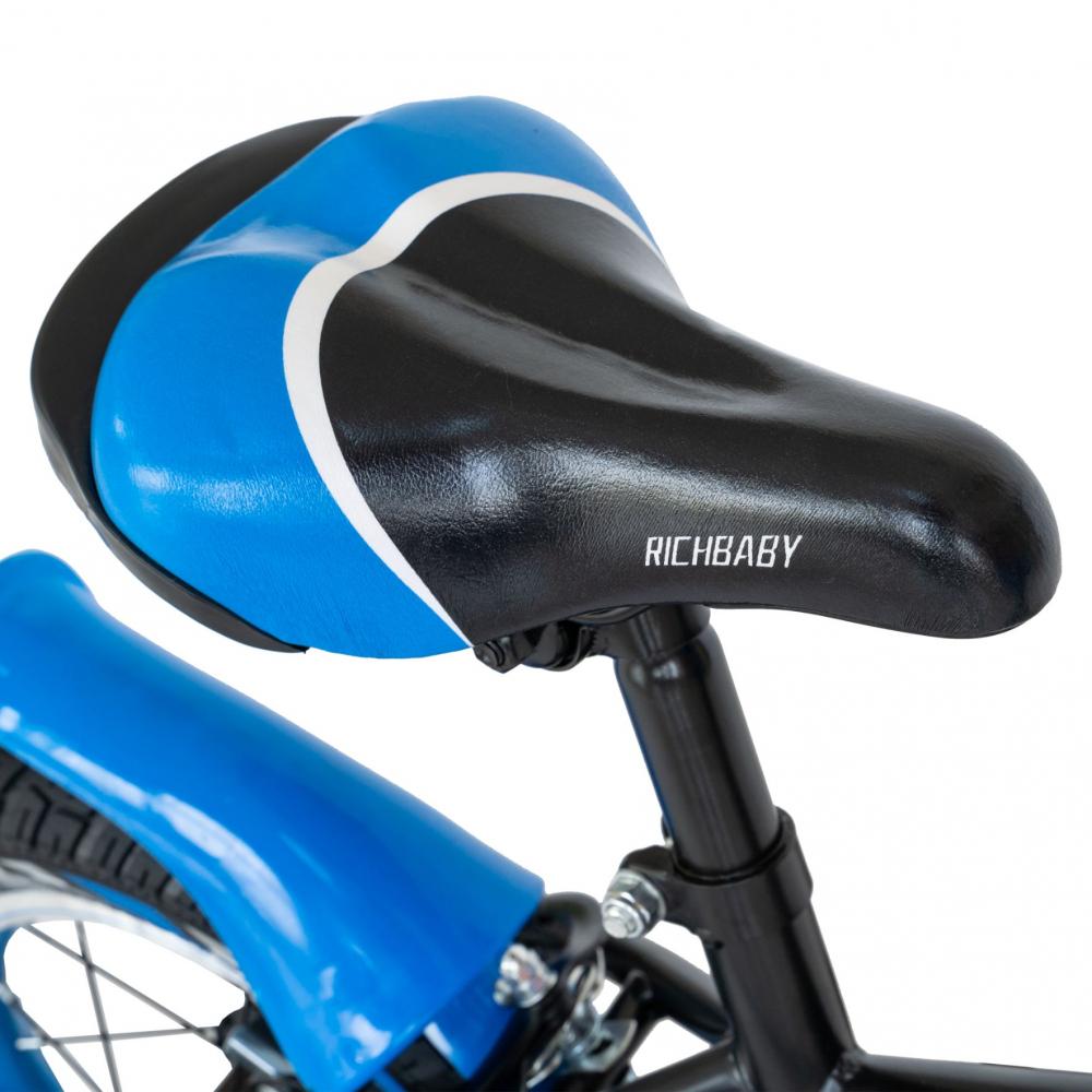 Bicicleta copii 2-4 ani 12 inch C-Brake Rich Baby CSR1203A negru cu albastru