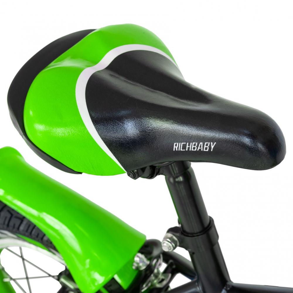 Bicicleta copii 2-4 ani 12 inch C-Brake Rich Baby CSR1203A negru cu verde
