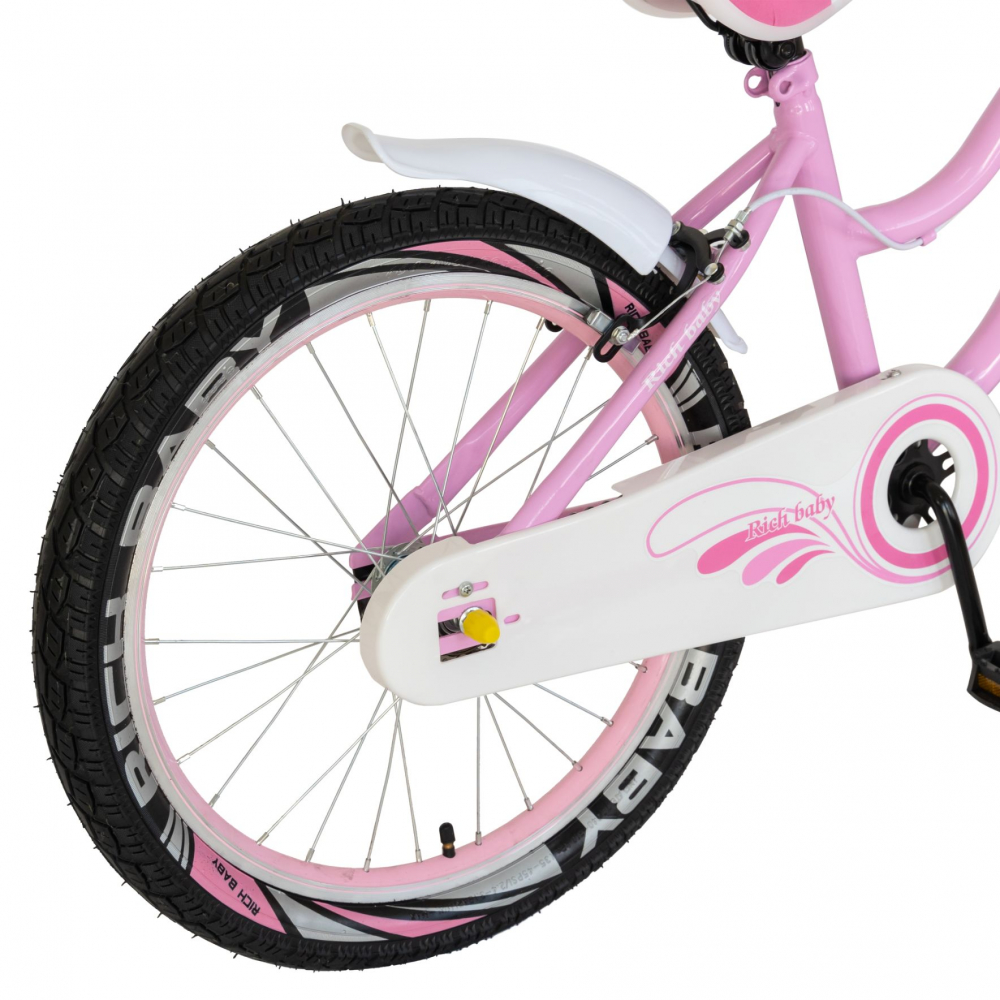 Bicicleta fete 7-10 ani 20 inch C-Brake Rich Baby CSR2004A roz cu alb