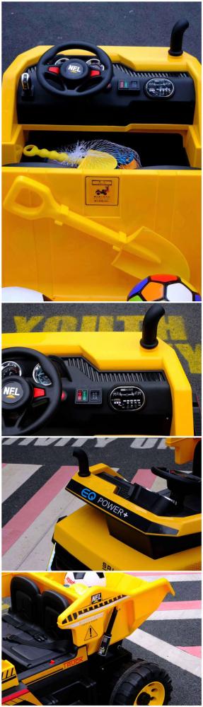 Camion electric 4x4 cu scaun din piele Nichiduta Power Yellow - 4