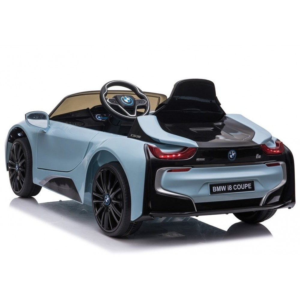 Masinuta electrica cu roti EVA si deschidere usi BMW I8 Coupe Albastru