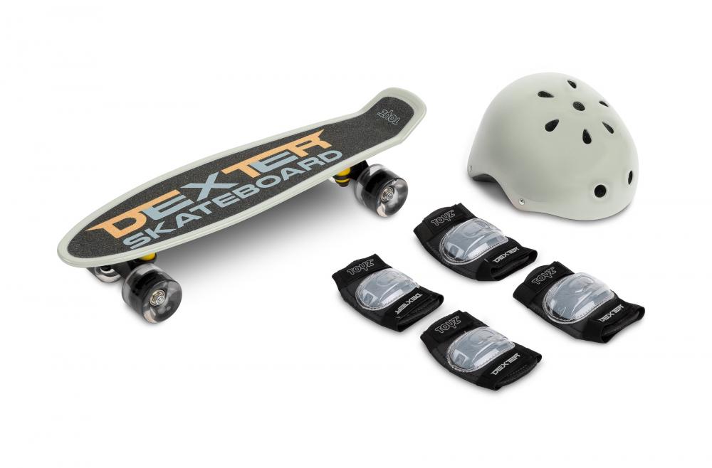 Set Skateboard cu casca cotiere si genunchiere Toyz Dexter Gri