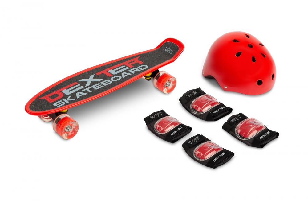 Set Skateboard cu casca cotiere si genunchiere Toyz Dexter Rosu