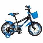 Bicicleta copii 2-4 ani 12 inch C-Brake Rich Baby CSR12/03A negru cu albastru