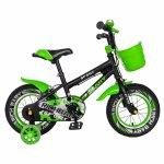 Bicicleta copii 2-4 ani 12 inch C-Brake Rich Baby CSR12/03A negru cu verde