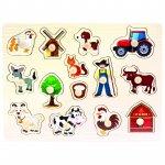 Puzzle copii din lemn Ferma 14 piese Bino