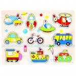 Puzzle copii din lemn Mijloace transport 11 piese Bino