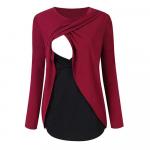 Bluza cu doua straturi gravide si alaptare XL rosu