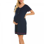 Camasa de noapte cu nasturi pentru sarcina si alaptare M albastru