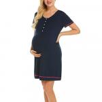 Camasa de noapte cu nasturi pentru sarcina si alaptare S albastru