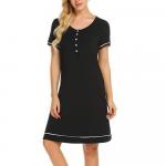 Camasa de noapte cu nasturi pentru sarcina si alaptare XL negru