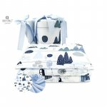 Lenjerie patut 3 piese cu protectie laterala Childrens Journey blue din bumbac pentru patut 120x60 cm