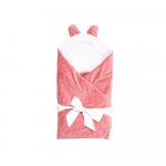Paturica de infasat cu urechiuse multifunctionala roz 80x80 cm