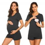 Pijama gravide cu maneca scurta pentru sarcina si alaptare M negru