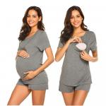 Pijama gravide cu maneca scurta pentru sarcina si alaptare S gri