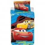 Set lenjerie pat copii Cars Lightning Mcqueen 90x140 + 40x55 SunCity