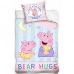 Set lenjerie pat copii Peppa Pig Bear Hugs 100x135 + 40x60 SunCity