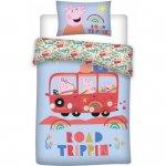 Set lenjerie pat copii Peppa Pig Road Trip 100x135 + 40x60 SunCity