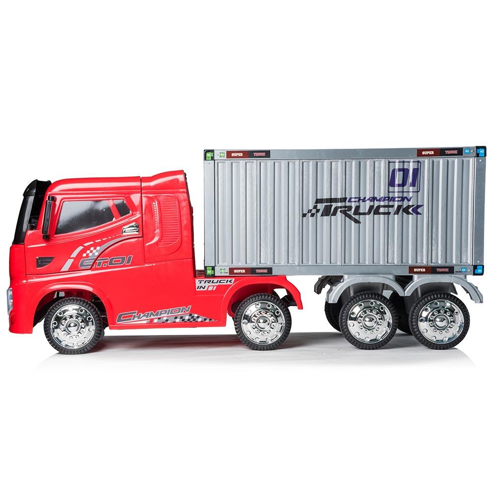Autocamion Tir electric cu remorca pentru copii rosu