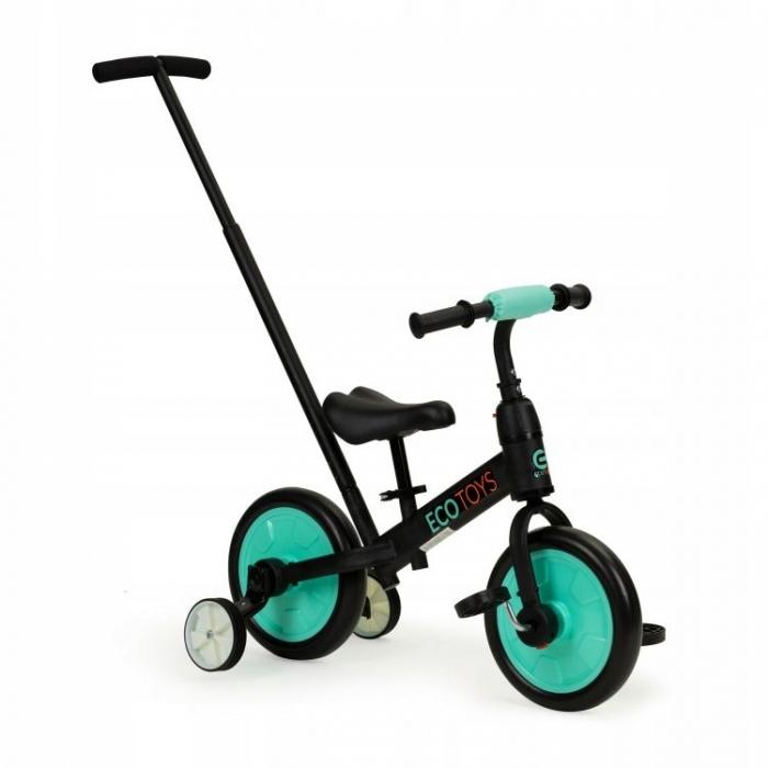 Bicicleta cu pedale si roti ajutatoare 3 in 1 Ecotoys YM-BB-12 Blue - 4